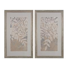 Linen Chintz I, II - Fine Art Giclee Under Glass