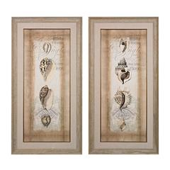 Sterling Cartouche And Shells I, II- Hand Embellished Canvas Using Matte And Gloss Gels