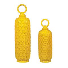 Sterling Set Of 2 Lidded Ceramic Jars In Sunshine Yellow