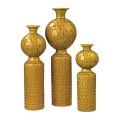 Sterling Set Of 3 Ceramic Vases In Chartreuse Glaze