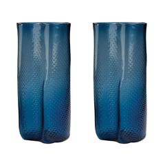 Etched Glass Vases In Navy Blue - Set of 2