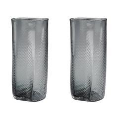 Lazy Susan Grey Etched Glass Vase