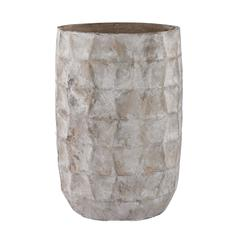 Aged Powdered Vase With Faceted Texture