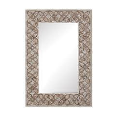 Lazy Susan Cross Hatch Shell Mirror