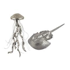 Hand Forged Silver Jelly Fish And Horseshow Crab - Set of 2
