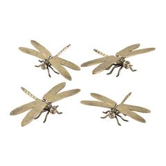 Sterling Set of 4 Hand Forged Gold Dragonfly Sculptures