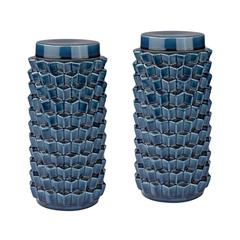Lazy Susan Accordion Crackled Blue Jar