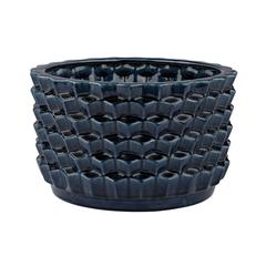 Lazy Susan Accordion Crackled Blue Pot