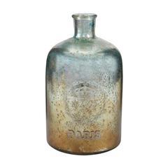 "Sterling 12"" Aqua Antique Mercury Glass Bottle"