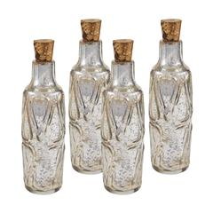 "Sterling Set of Four 10"" Mouth Blown Mercury Glass Bottle"