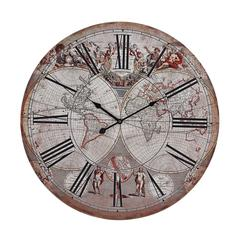 Sterling Renaissance Style Printed Map Clock