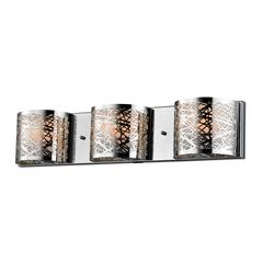 ELK lighting Ventor 3 Light Vanity In Polished Chrome And Etched Stainless Steel