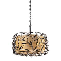 Circeo 3 Light Pendant In Deep Rust And Glass Crystals
