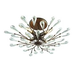 Crislett 4 Light Semi Flush In Sunglow Bronze With Clear Crystal