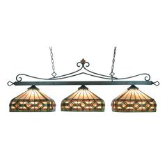 ELK lighting Tiffany Lighting 3 Light Billiard In Tiffany Bronze And Multicolor Tiffany Glass