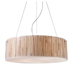Modern Organics 5 Light Pendant In Polished Chrome And Bamboo Stem