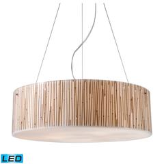 Modern Organics 5 Light LED Pendant In Polished Chrome And Bamboo Stem