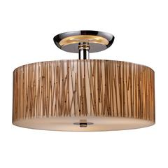 Modern Organics 3 Light Semi Flush In Polished Chrome And Bamboo Stem
