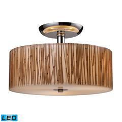 ELK lighting Modern Organics 3 Light LED Semi Flush In Polished Chrome And Bamboo Stem