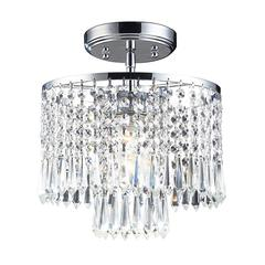 Optix 1 Light Flushmount In Polished Chrome And Clear Crystal