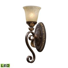 Regency 1 Light LED Vanity In Burnt Bronze And Gold Leaf