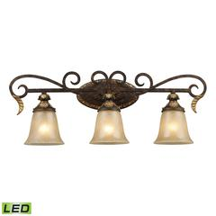 ELK lighting Regency 3 Light LED Vanity In Burnt Bronze And Gold Leaf