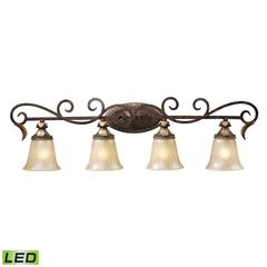 Regency 4 Light LED Vanity In Burnt Bronze And Gold Leaf