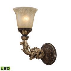 Regency 1 Light LED Wall Sconce In Burnt Bronze And Gold Leaf