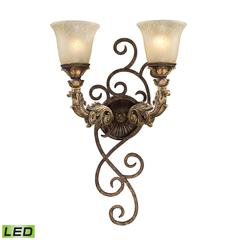 Regency 2 Light LED Wall Sconce In Burnt Bronze And Gold Leaf