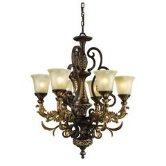 ELK lighting Regency 6 Light Chandelier In Burnt Bronze And Gold Leaf