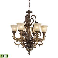 Regency 6 Light LED Chandelier In Burnt Bronze And Gold Leaf