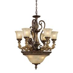 Regency 9 Light Chandelier In Burnt Bronze And Gold Leaf