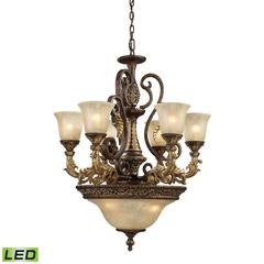 ELK lighting Regency 9 Light LED Chandelier In Burnt Bronze And Gold Leaf