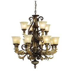 ELK lighting Regency 12 Light Chandelier In Burnt Bronze And Gold Leaf