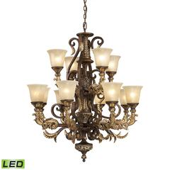 Regency 12 Light LED Chandelier In Burnt Bronze And Gold Leaf