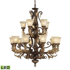 Regency 15 Light LED Chandelier In Burnt Bronze And Gold Leaf