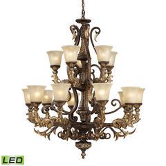 ELK lighting Regency 15 Light LED Chandelier In Burnt Bronze And Gold Leaf
