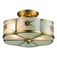ELK lighting Preston 2 Light Semi Flush In Brushed Brass
