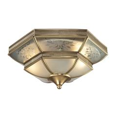 French Damask 2 Light Flushmount In Brushed Brass