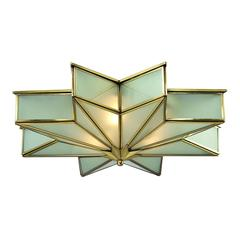 Decostar 3 Light Flushmount In Brushed Brass