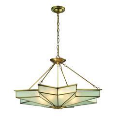 ELK lighting Decostar 8 Light Pendant In Brushed Brass