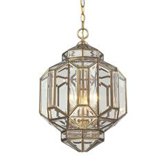 ELK lighting Lavery 3 Light Pendant In Brushed Brass