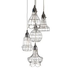 Lazy Susan Silver Wire Five Pendant Lamp