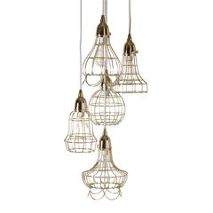 Gold Wire Five Pendant Lamp