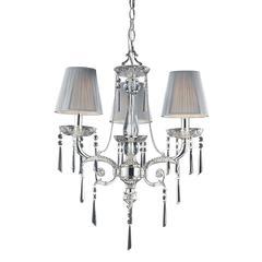 ELK lighting Princess 3 Light Chandelier In Polished Silver With Silk String Shades