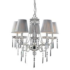 Princess 5 Light Chandelier In Polished Silver With Silk String Shades