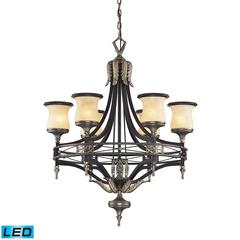 ELK lighting Georgian Court 6 Light LED Chandelier In Antique Bronze And Dark Umber