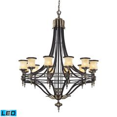 ELK lighting Georgian Court 12 Light LED Chandelier In Antique Bronze And Dark Umber