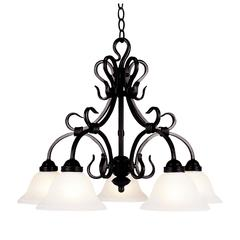 Buckingham 5 Light Chandelier In Matte Black And White Faux Marble Glass