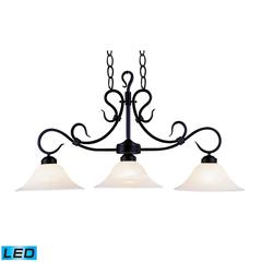 Buckingham 3 Light LED Island In Matte Black And White Faux Marble Glass